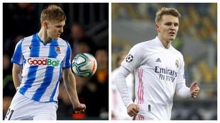 Odegaard, en sus etapas con la Real Sociedad y el Real Madrid.