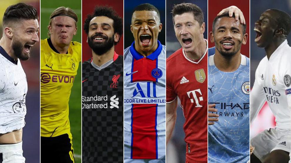 Giroud, Haaland, Salah, Mbappé, Lewandowski, Gabriel Jesus y Mendy