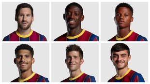 Messi, Dembélé, Ansu, Araujo, Sergi Roberto y Pedri