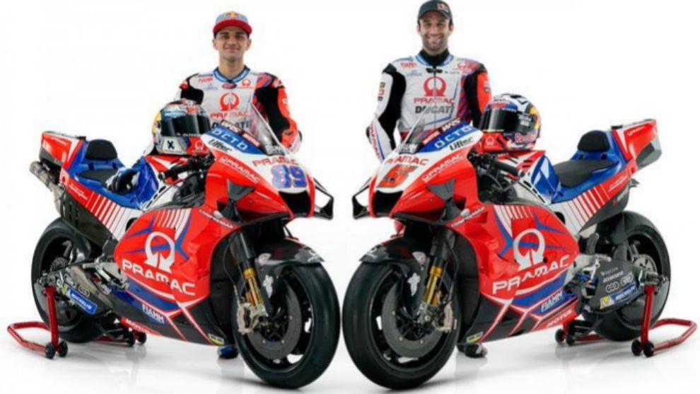 Jorge Martín y Johann Zarco, con sus Pramac Ducati GP21.