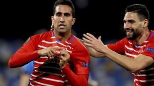 Montoro celebra el gol que suponía el 1-1 para el Granada en...