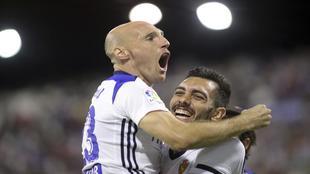 Gaizka Toquero celebra un gol, durante su etapa en el Zaragoza.