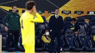 Emery, durante el partido ante el Salzburgo.