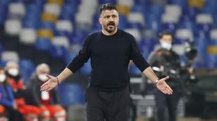 Gennaro Gattuso, entrenador del Napoli de Hirving Lozano.