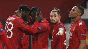 Festejo del Manchester United en casa ante la Real Sociedad en Europa...