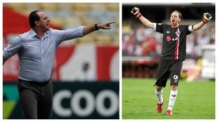 Rogério Ceni, como entrenador con Flamengo y como portero del Sao...
