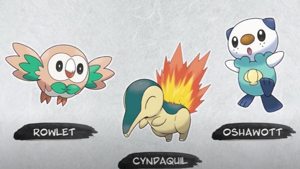 Los curiosos iniciales de Leyendas Pokémon: Arceus: Rowlet (Gen 7), Cyndaquil (Gen 2) y Oshawott (Gen 5).