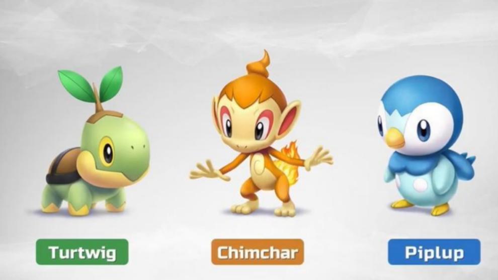 Turtwig, Chimchar y Piplup serán los tres iniciales de Pokémon Diamante Brillante y Perla Reluciente.