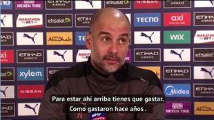 Guardiola se harta y pone como ejemplo a Madrid y Barça