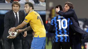 Antonio Conte, en sus etapas en la Juve y el Inter.