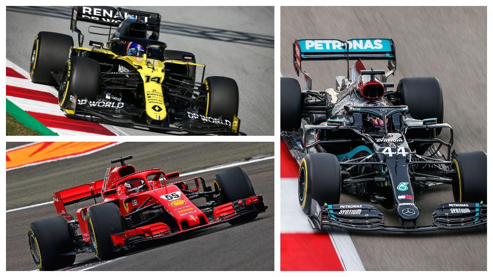 Alonso, Sainz y Hamilton.