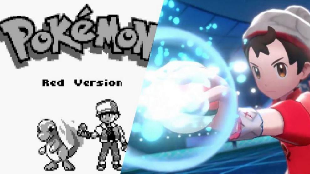 La comparación gráfica entre el Pokémon Rojo y el Pokémon Espada,...