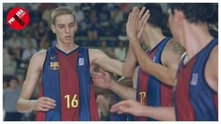 Pau Gasol, en uno de los partidos que jugó con el Barcelona en 1999.