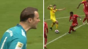 Dijo que se iba del Bayern y tiene estos despistes: fallo de Alaba y Neuer que se lo quiso comer