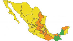 Semáforo epidemiológico Covid-19 en México: 0 rojo; 10 naranja, 20...