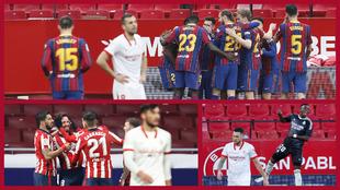 El Barcelona, el Atlético y Vinícius celebran un gol ante el...