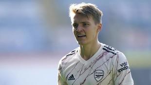 Odegaard, en un momento del partido ante el Leicester.