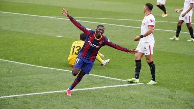 Dembélé celebra el gol contra el Sevilla.