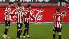 Los jugadores del Athletic celebran el gol de Berenguer ante el...
