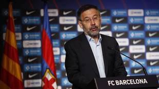 Josep María Bartomeu, en una conferencia de prensa cuando era...