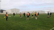 Los jugadores del Extremadura, durante la sesión de entrenamiento de...
