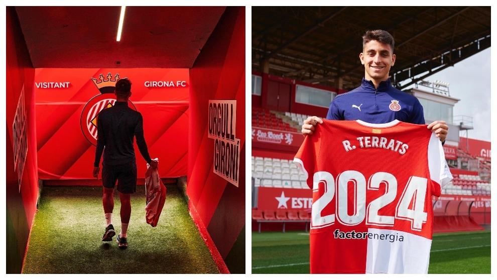 Ramón Terrats, en Montilivi con la camiseta de su renovación /