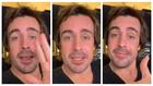 Gestos de Alonso, durante el vídeo.