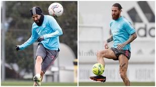 Benzema y Sergio Ramos, durante el entrenamiento en Valdebebas