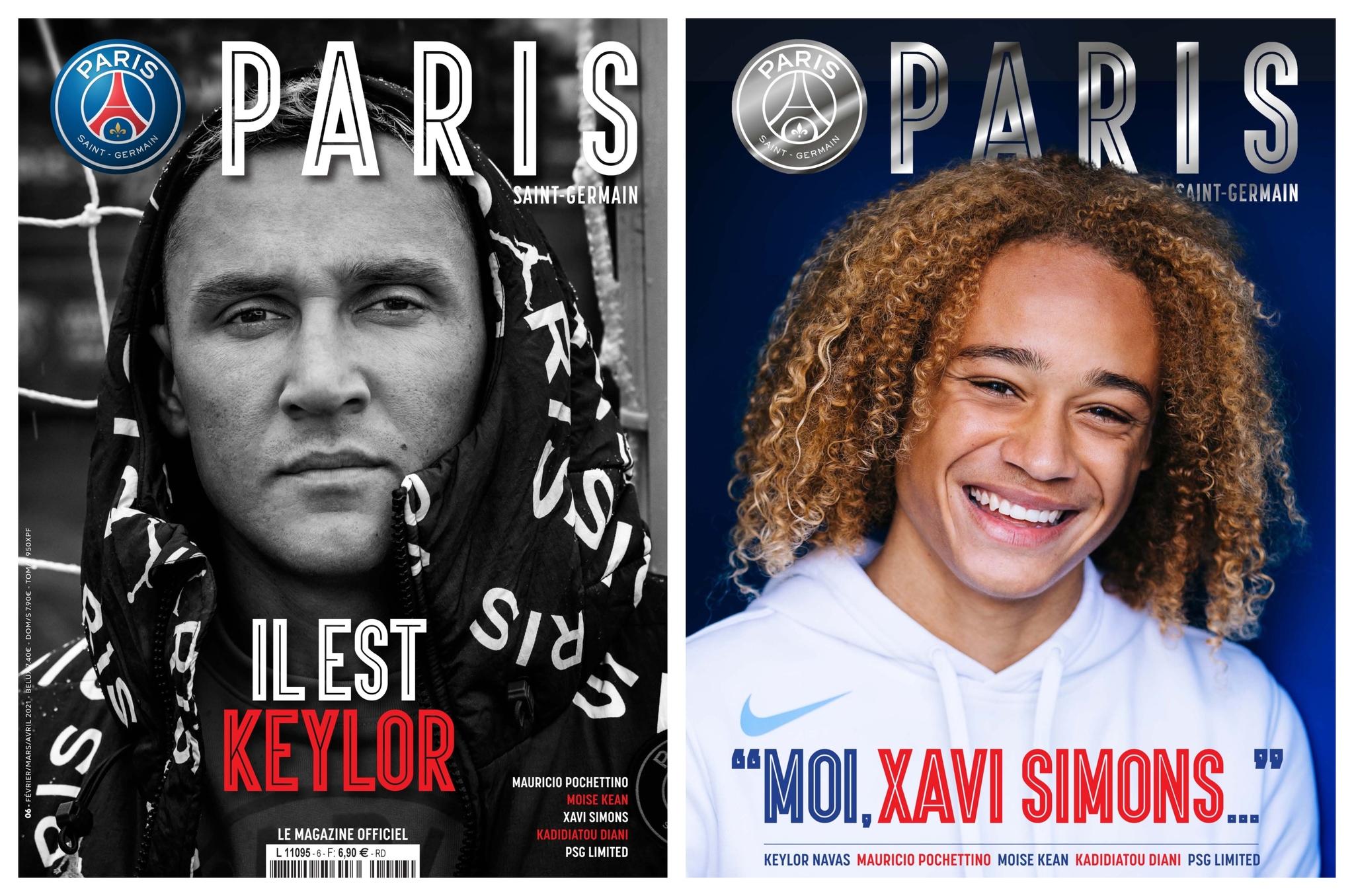 La portada y la contraportada de la revista oficial del PSG.