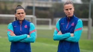 Andrea Pereira y Ana Maria Crnogorcevic durante un entrenamiento en...
