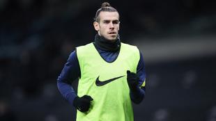 Bale, en un entrenamiento con el Tottenham