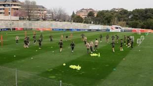 El entrenamiento del Atlético este miércoles.