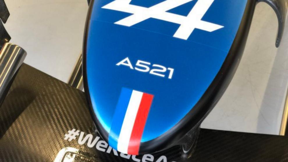 El morro del nuevo Alpine A521 de Fernando Alonso.
