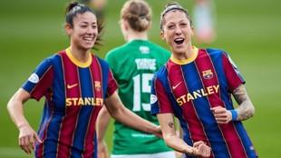 Jenni Hermoso celebra uno de los goles anotados ante el Fortuna...
