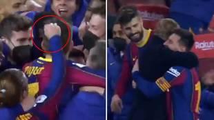El éxtasis culé: los tirones de pelo a Piqué, el abrazo más culé de Messi...