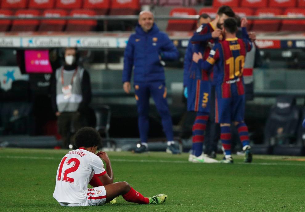 El Barcelona celebrando un gol ante el Sevilla.