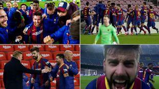 Los jugadores del Barcelona celebran la victoria ante el Sevilla.