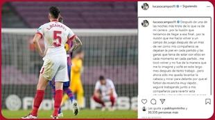 Captura de la cuenta de Instagram de Lucas Ocampos.