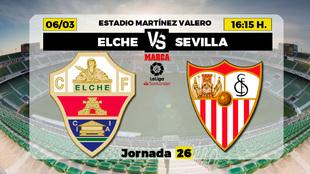 Elche - Sevilla: Horario, canal y dónde ver en TV el partido de Liga
