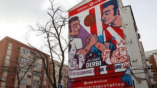 El mural del derbi en Carabanchel