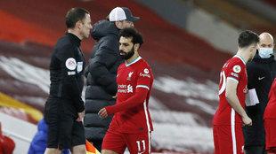 Salah, tras su polémica sustitución ante el Chelsea.