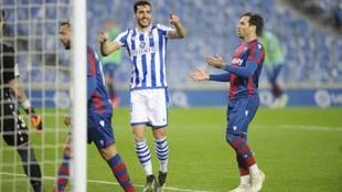 Merino celebra el gol que dio la victoria a la Real Sociedad.