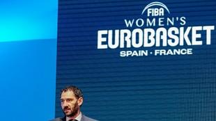 Jorge Garbajosa, presidente de la FEB, durante su discurso antes del...