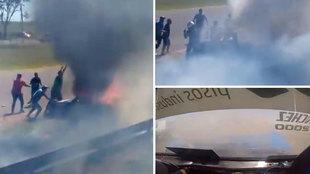 """Dramático y desesperado rescate a un piloto atrapado en su coche en llamas: """"¡Sácalo, loco!"""""""