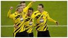 Erling Haaland celebra uno de sus goles contra el Bayern.