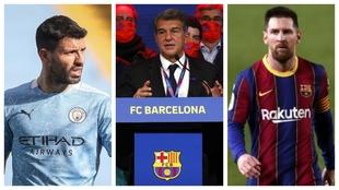 Un montaje fotográfico con Agüero, Laporta y Messi.