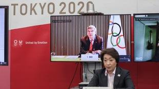 Thomas Bach, en videoconferencia con el Comité organizador de Tokio...