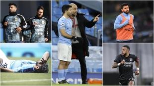 Kun Agüero, con Messi y Guardiola; debajo, Depay