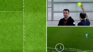 Una tecnología nunca vista delata a Xavi en el banquillo: ¡tocó un balón que no había salido!
