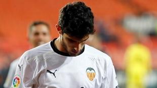 Guedes, cabizbajo, en su celebración del gol contra el Villarreal.